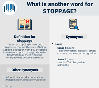 stoppage, synonym stoppage, another word for stoppage, words like stoppage, thesaurus stoppage