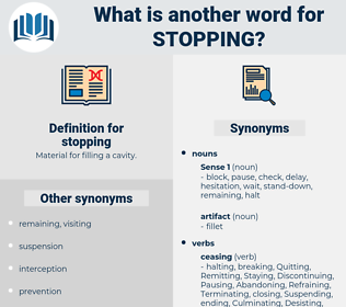 stopping, synonym stopping, another word for stopping, words like stopping, thesaurus stopping