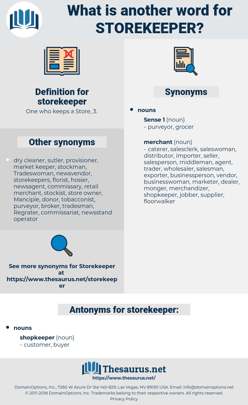 storekeeper, synonym storekeeper, another word for storekeeper, words like storekeeper, thesaurus storekeeper