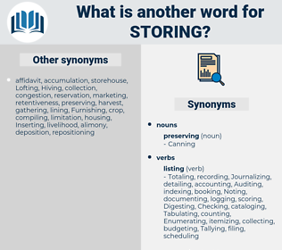 Storing, synonym Storing, another word for Storing, words like Storing, thesaurus Storing