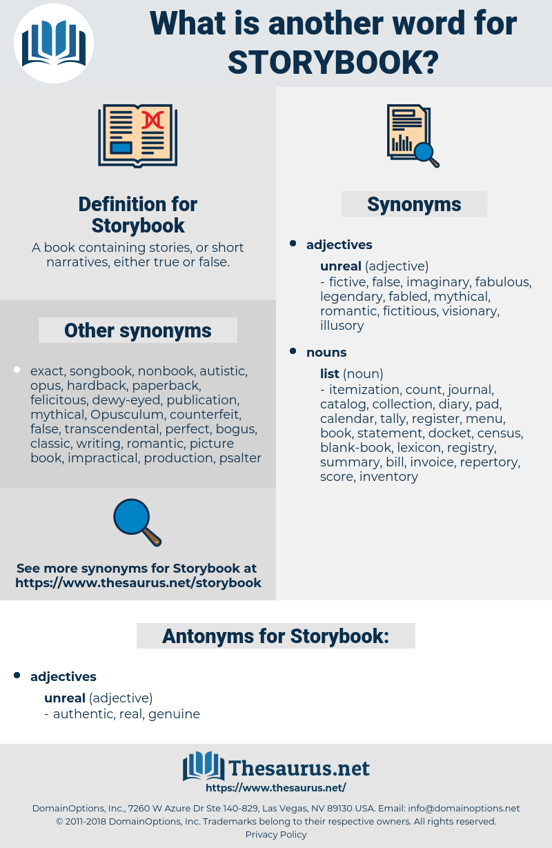 Storybook, synonym Storybook, another word for Storybook, words like Storybook, thesaurus Storybook