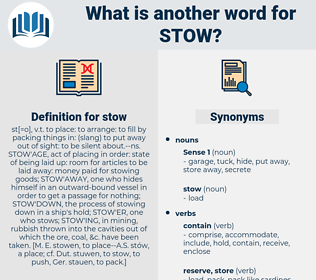 stow, synonym stow, another word for stow, words like stow, thesaurus stow