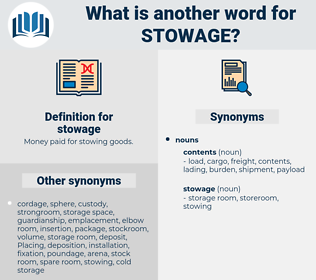 stowage, synonym stowage, another word for stowage, words like stowage, thesaurus stowage