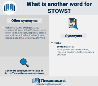 stows, synonym stows, another word for stows, words like stows, thesaurus stows