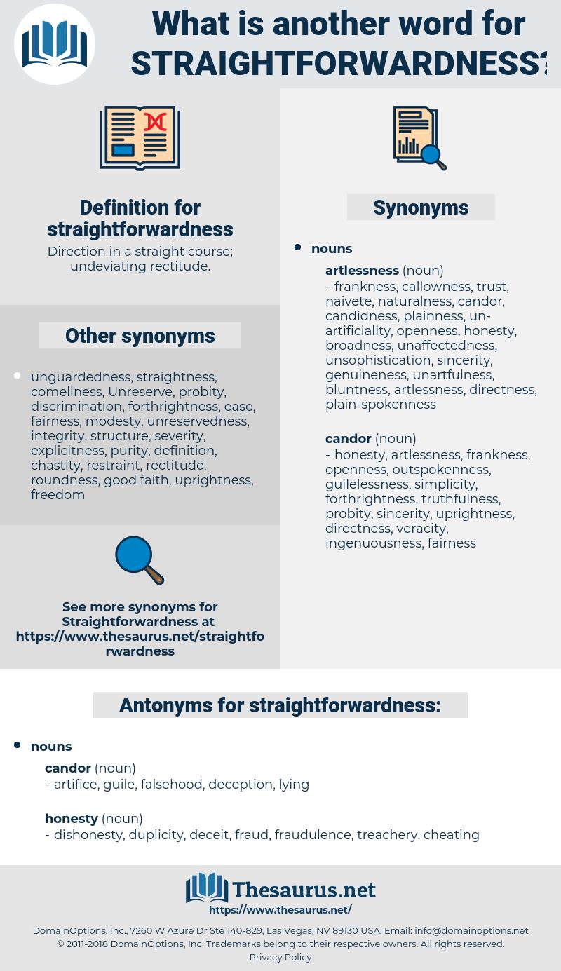 straightforwardness, synonym straightforwardness, another word for straightforwardness, words like straightforwardness, thesaurus straightforwardness