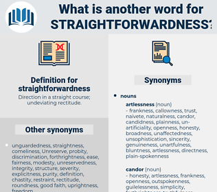 straightforwardness, synonym straightforwardness, another word for straightforwardness, words like straightforwardness, thesaurus straightforwardness