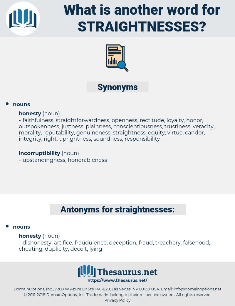 straightnesses, synonym straightnesses, another word for straightnesses, words like straightnesses, thesaurus straightnesses