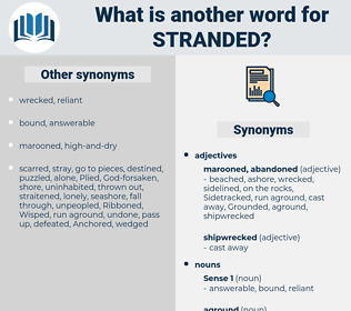 stranded, synonym stranded, another word for stranded, words like stranded, thesaurus stranded