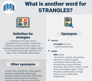 strangles, synonym strangles, another word for strangles, words like strangles, thesaurus strangles