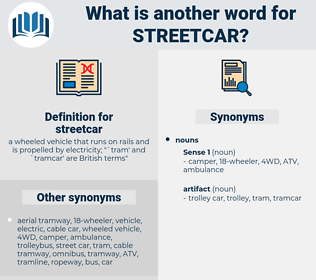 streetcar, synonym streetcar, another word for streetcar, words like streetcar, thesaurus streetcar