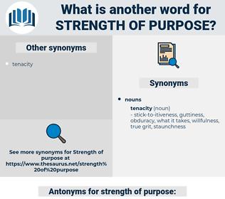 strength of purpose, synonym strength of purpose, another word for strength of purpose, words like strength of purpose, thesaurus strength of purpose