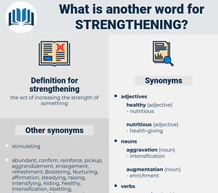 strengthening, synonym strengthening, another word for strengthening, words like strengthening, thesaurus strengthening