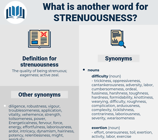 strenuousness, synonym strenuousness, another word for strenuousness, words like strenuousness, thesaurus strenuousness