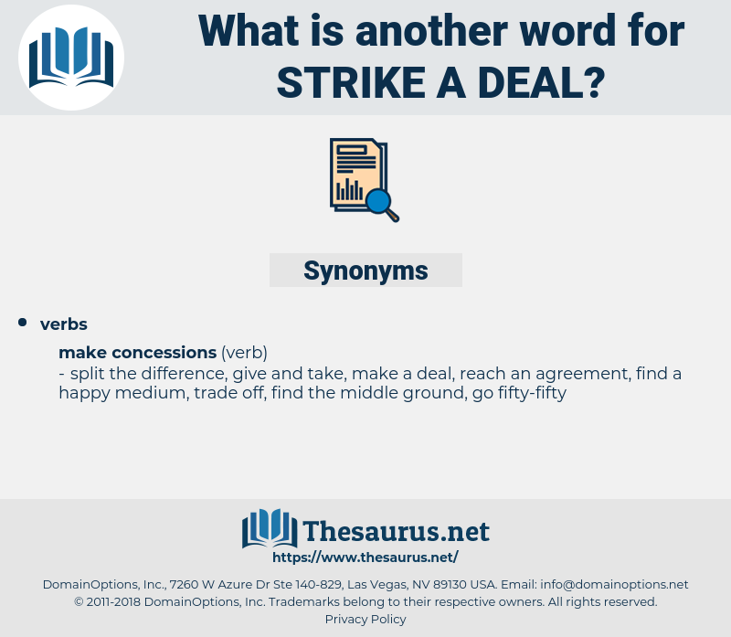strike a deal, synonym strike a deal, another word for strike a deal, words like strike a deal, thesaurus strike a deal