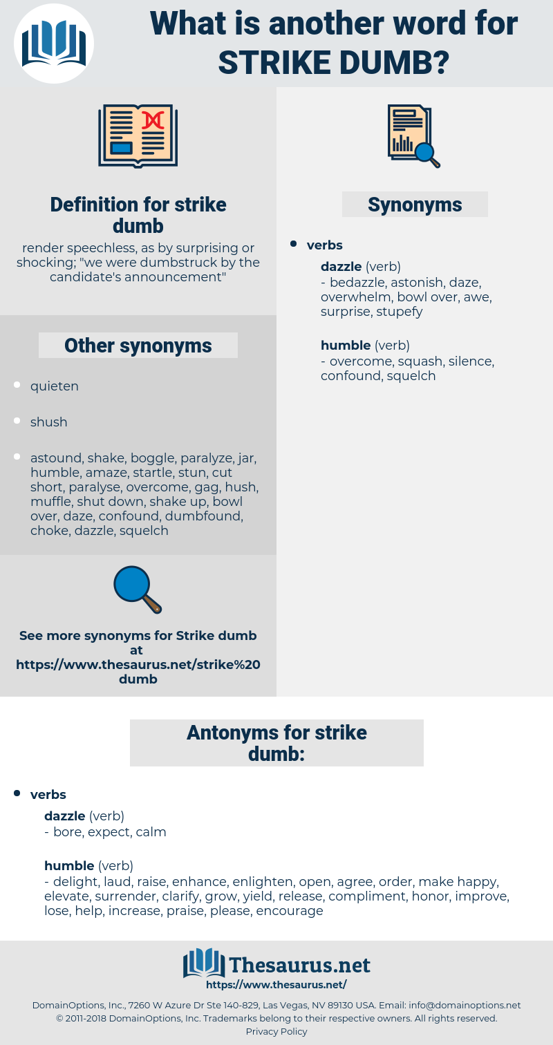 strike dumb, synonym strike dumb, another word for strike dumb, words like strike dumb, thesaurus strike dumb