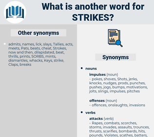 Strikes, synonym Strikes, another word for Strikes, words like Strikes, thesaurus Strikes