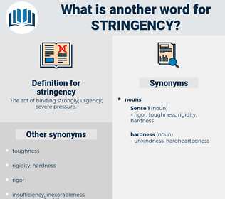 stringency, synonym stringency, another word for stringency, words like stringency, thesaurus stringency