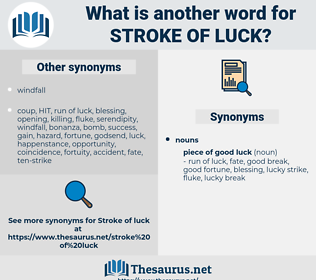 stroke of luck, synonym stroke of luck, another word for stroke of luck, words like stroke of luck, thesaurus stroke of luck