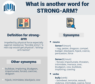 strong arm, synonym strong arm, another word for strong arm, words like strong arm, thesaurus strong arm