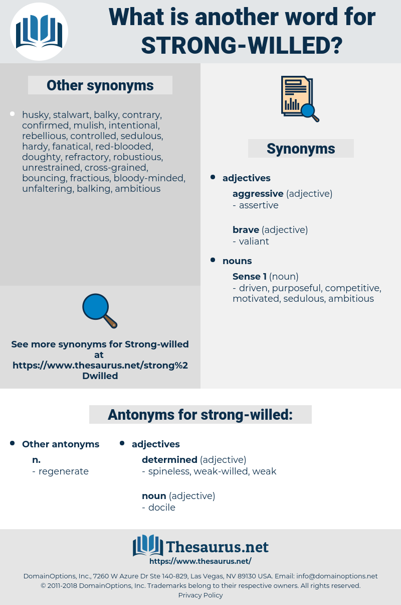 Synonyms for STRONG-WILLED, Antonyms for STRONG-WILLED