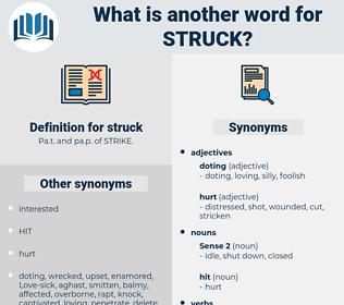 struck, synonym struck, another word for struck, words like struck, thesaurus struck