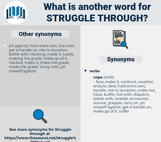 struggle through, synonym struggle through, another word for struggle through, words like struggle through, thesaurus struggle through
