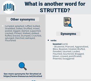 Strutted, synonym Strutted, another word for Strutted, words like Strutted, thesaurus Strutted
