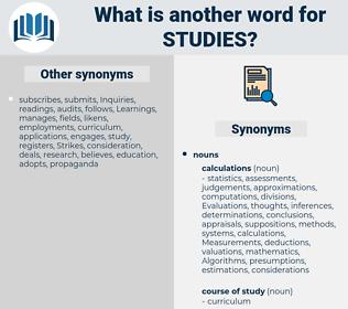Studies, synonym Studies, another word for Studies, words like Studies, thesaurus Studies