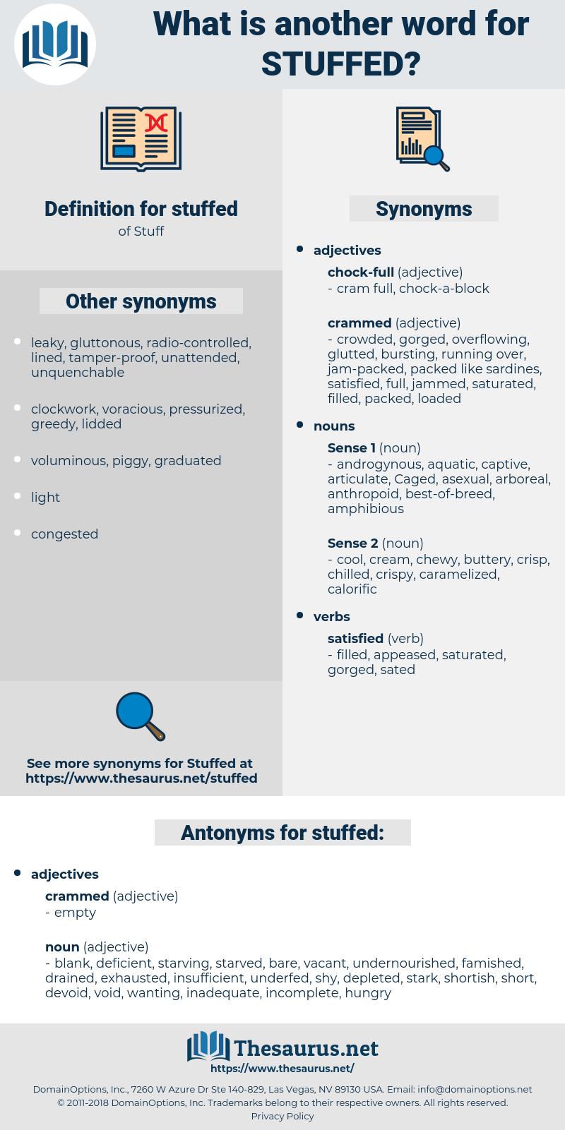 stuffed, synonym stuffed, another word for stuffed, words like stuffed, thesaurus stuffed