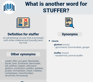 stuffer, synonym stuffer, another word for stuffer, words like stuffer, thesaurus stuffer