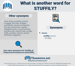 stuffily, synonym stuffily, another word for stuffily, words like stuffily, thesaurus stuffily