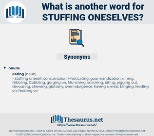 stuffing oneselves, synonym stuffing oneselves, another word for stuffing oneselves, words like stuffing oneselves, thesaurus stuffing oneselves