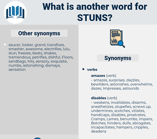 stuns, synonym stuns, another word for stuns, words like stuns, thesaurus stuns