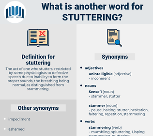 stuttering, synonym stuttering, another word for stuttering, words like stuttering, thesaurus stuttering