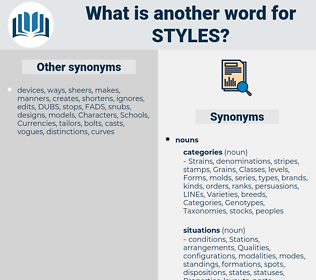 Styles, synonym Styles, another word for Styles, words like Styles, thesaurus Styles