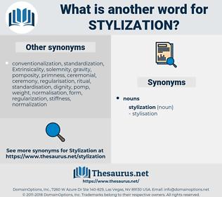 stylization, synonym stylization, another word for stylization, words like stylization, thesaurus stylization