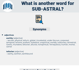 sub-astral, synonym sub-astral, another word for sub-astral, words like sub-astral, thesaurus sub-astral