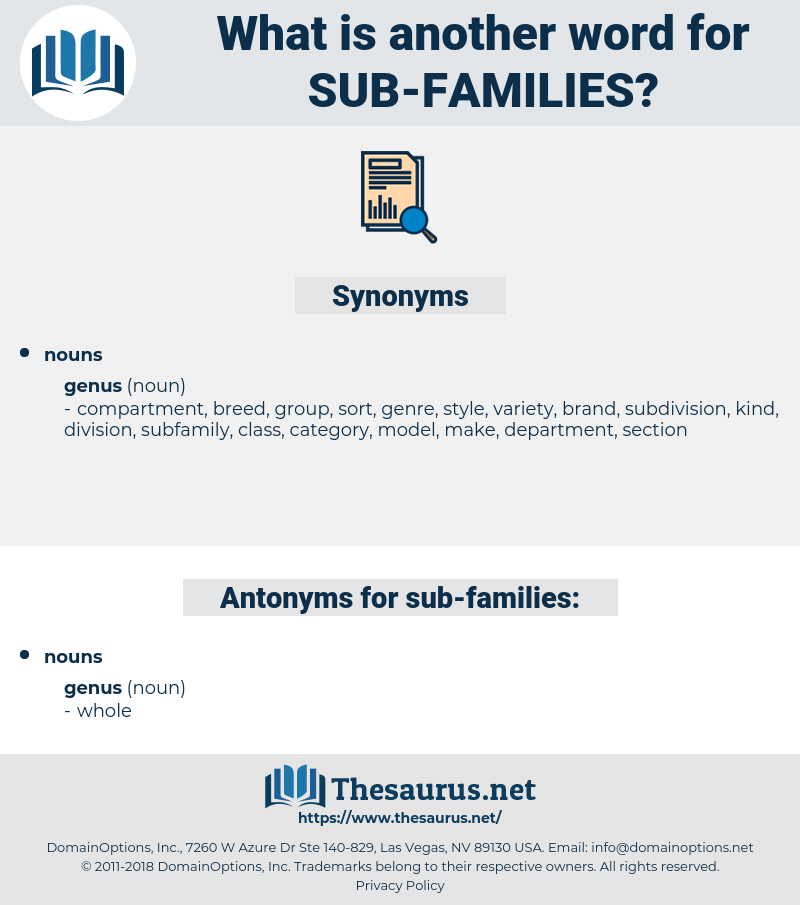 sub-families, synonym sub-families, another word for sub-families, words like sub-families, thesaurus sub-families