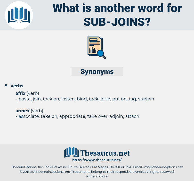 sub-joins, synonym sub-joins, another word for sub-joins, words like sub-joins, thesaurus sub-joins