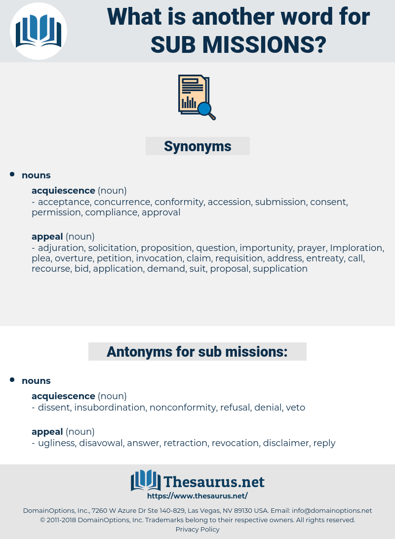 sub-missions, synonym sub-missions, another word for sub-missions, words like sub-missions, thesaurus sub-missions