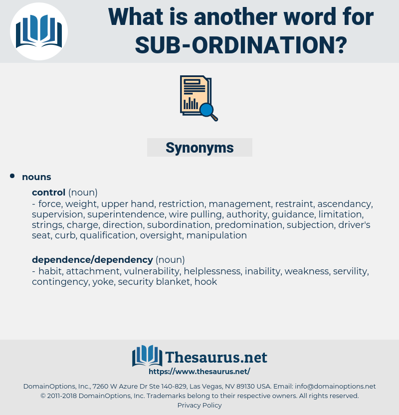 sub ordination, synonym sub ordination, another word for sub ordination, words like sub ordination, thesaurus sub ordination