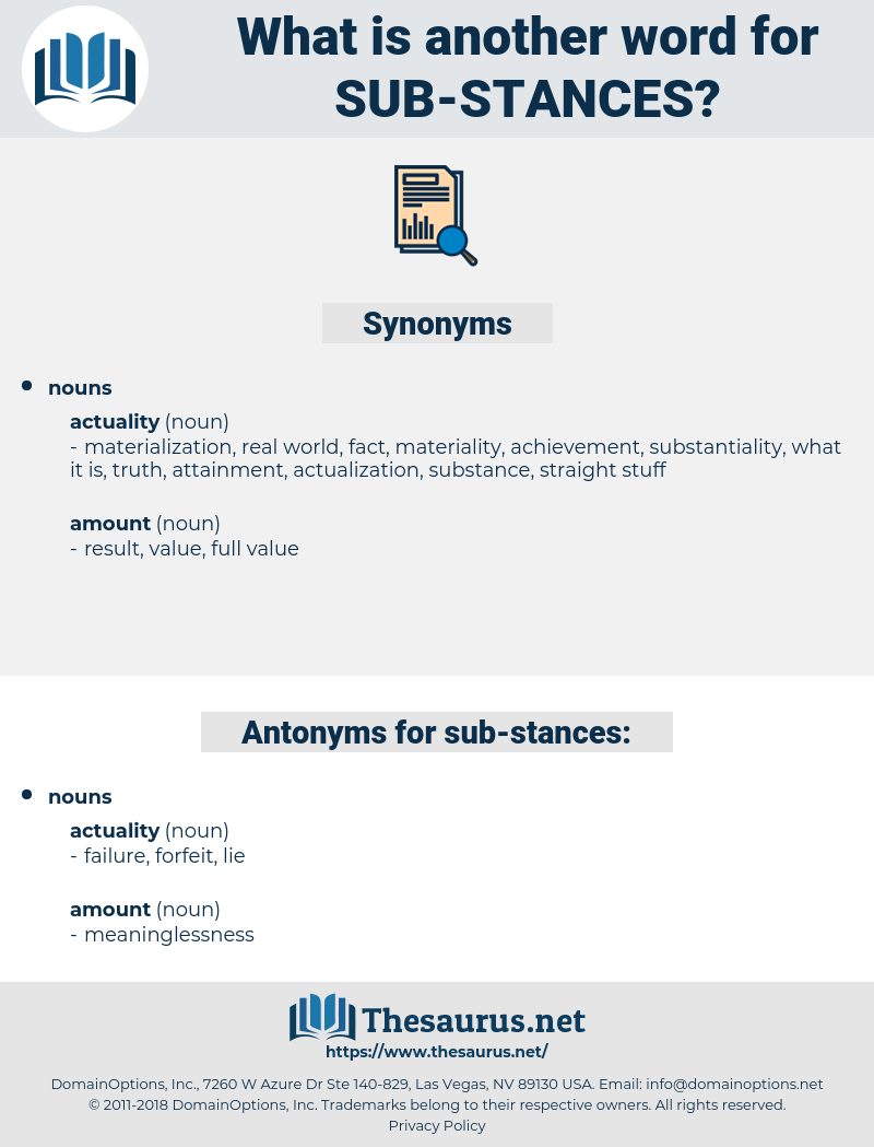 sub stances, synonym sub stances, another word for sub stances, words like sub stances, thesaurus sub stances