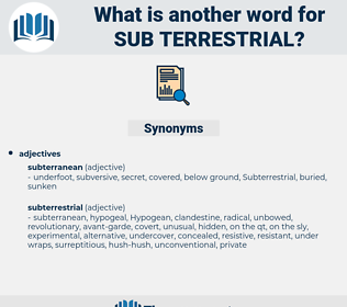 sub-terrestrial, synonym sub-terrestrial, another word for sub-terrestrial, words like sub-terrestrial, thesaurus sub-terrestrial