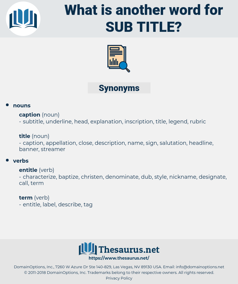 sub-title, synonym sub-title, another word for sub-title, words like sub-title, thesaurus sub-title