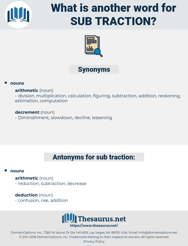 sub traction, synonym sub traction, another word for sub traction, words like sub traction, thesaurus sub traction