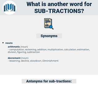 sub-tractions, synonym sub-tractions, another word for sub-tractions, words like sub-tractions, thesaurus sub-tractions