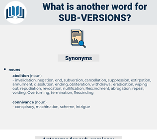 sub-versions, synonym sub-versions, another word for sub-versions, words like sub-versions, thesaurus sub-versions