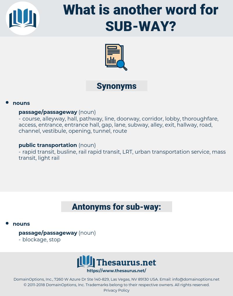 sub-way, synonym sub-way, another word for sub-way, words like sub-way, thesaurus sub-way