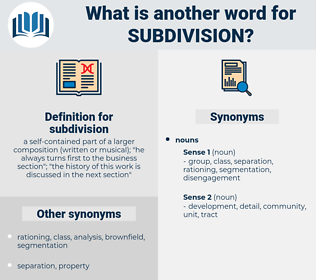 subdivision, synonym subdivision, another word for subdivision, words like subdivision, thesaurus subdivision