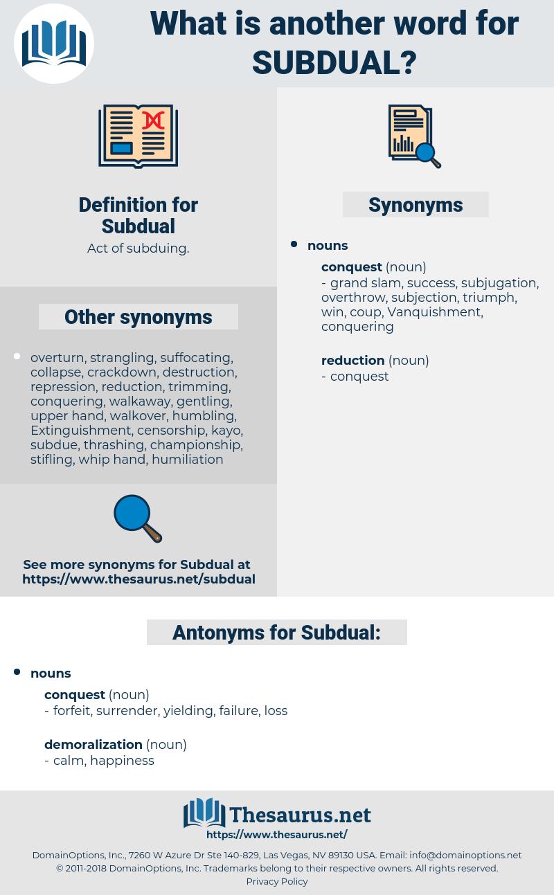 Subdual, synonym Subdual, another word for Subdual, words like Subdual, thesaurus Subdual